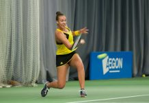 Freya Christie in action during her victory against doubles partner Harriet Dart at The Shrewsbury Club yesterday. Photo: Richard Dawson Photography
