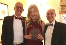 Henshalls Directors Mark Freeman (left) and Martin Pitchford with Lucy Sutton and her Young Achiever of the Year award