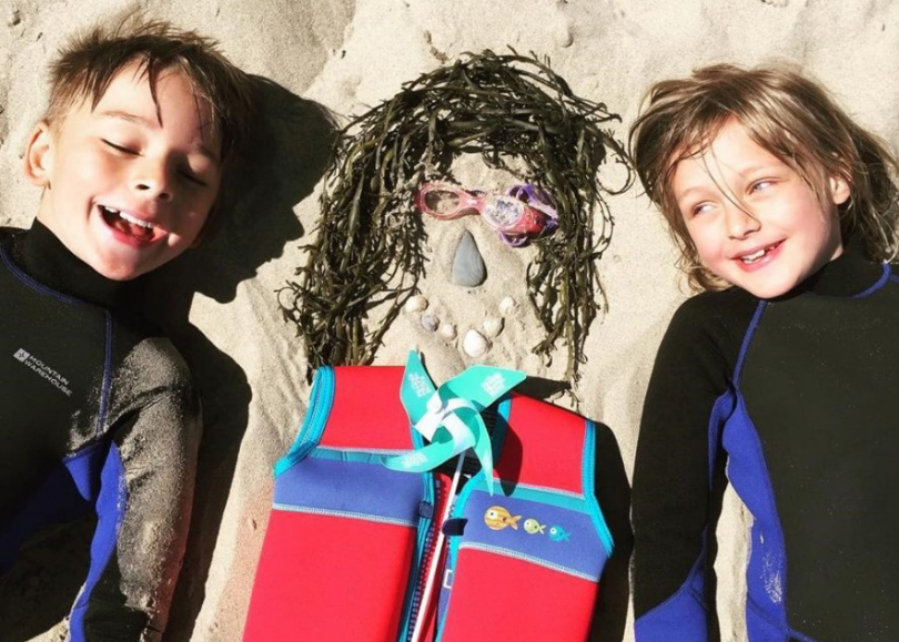 Claudia Baker's winning family selfie photo of son Ivan, 9, daughter Beatrice and 'Mr Seaweed'