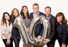 Jennie Windle, Rhiannon Williams, Felicity Wingrove, Alan Adams, Chris Bentley, and Suzy O'Shea celebrate the milestone