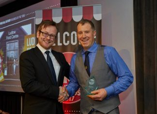 John Brereton, Ludlow Food Centre's Butchery Manager (right) receiving the award from Aidan Fortune, Deputy Editor, Meat Trades Journal (left).