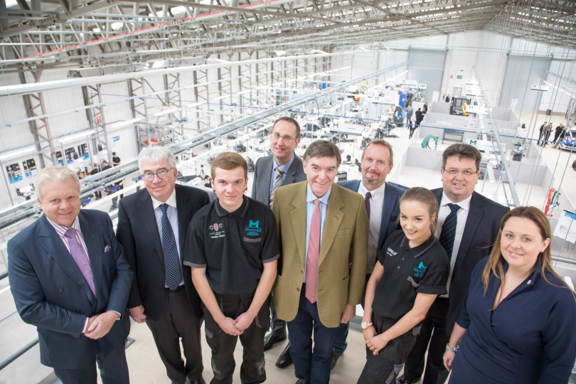 Graham Wynn OBE (Marches LEP), Peter Neumark (Classic Motor Cars), Thomas Harper (Apprentice at Classic Motor Cars), Matthew Snelson (MCMT), Philip Dunne (Minister for Health), Christopher Greenough (Salop Design & Engineering), Lauren Ball (Apprentice at Caterpillar), Nic Laurens (Shropshire Council) and Bekki Phillips (In-Comm)