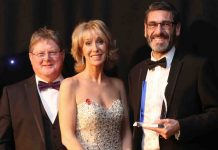 Robin Melley (left) and Gary Matthews with guest presenter ITV's Emma Jesson at the West Midlands Insurance Institutes Awards