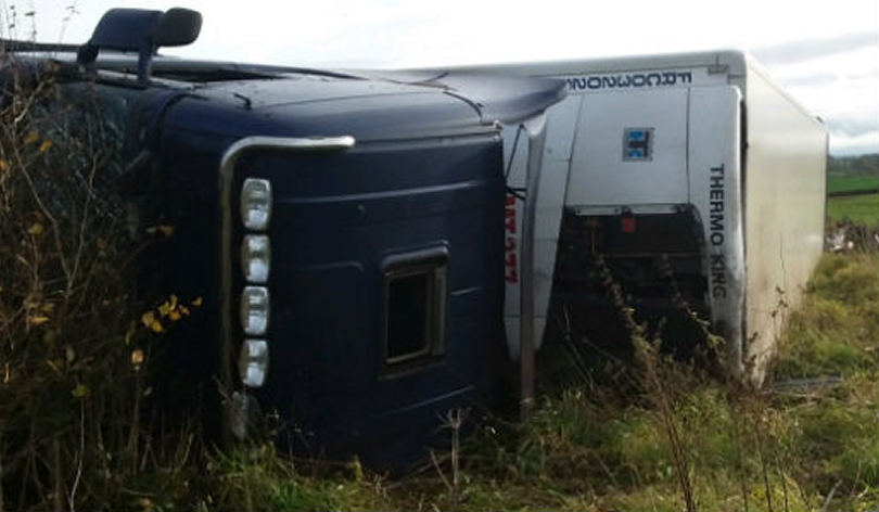 The overturned lorry on the A41. Photo: Telford & Wrekin Council