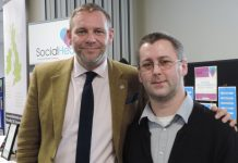 Peter Holbrook, CEO of Social Enterprise UK, congratulating Andy Craddock on starting up his social enterprise TechWithNoLimits