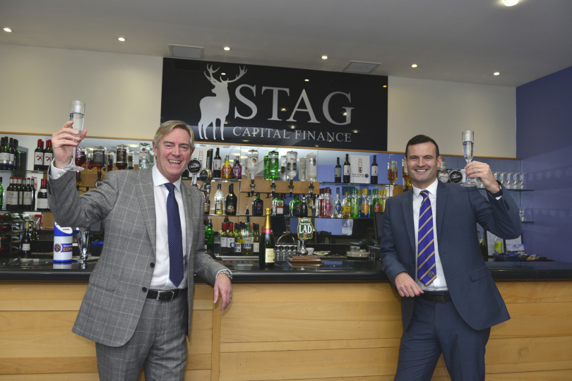 Toasting the success of teamwork, Mark Pilsbury and Andy Tretton in the Sovereign Suite at Shrewsbury Town FC