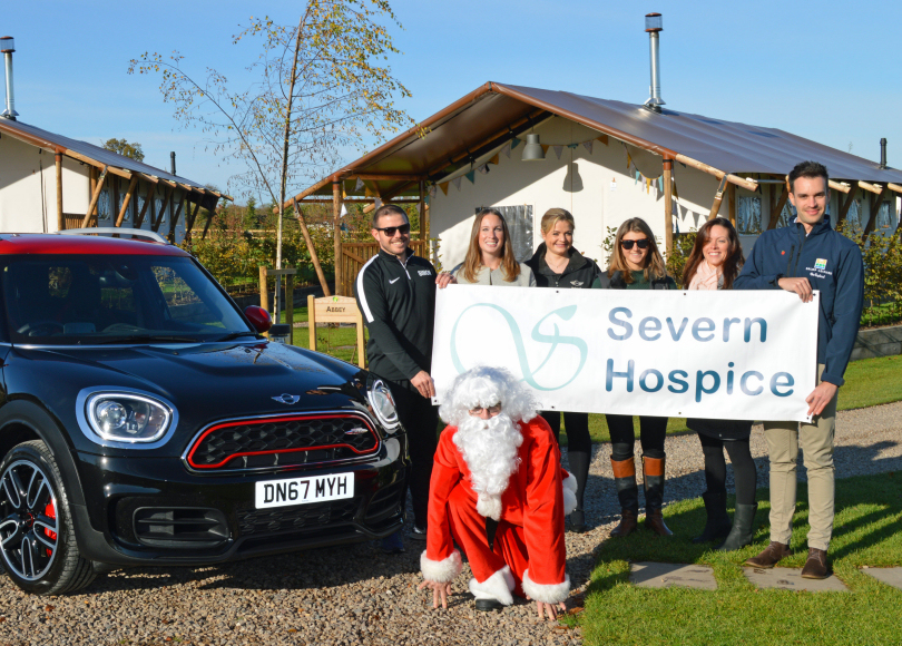 Launching the Salop Santa Dash is Santa with (from left) Simon Macdonald from Love Fitness, Lucy Ruff, Severn Hospice's fundraising manager, Tory Bissell from Rybrook MINI Shrewsbury, Laura Wilde and Carrie Hughes from Pink Pebble Events, and Ed Glover, Salop Leisure's marketing manager