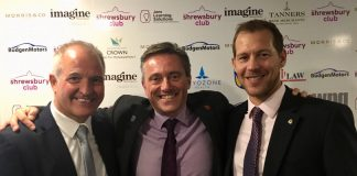 Dave Courteen, centre, the managing director of The Shrewsbury Club, with guest speakers Steve Bull, left, and Kevin Drake