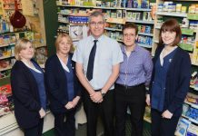 Sue Walsh, Jill Kelly, Ian Swindell, Helen Grass and Lauren Wagstaff at Lunts Pharmacy in Roushill, Shrewsbury
