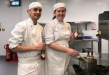 Young Telford College chefs Liam Wassell and Dayna Nielsen