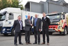 Celebrating the partnership deal are, from left Dave Morris (TG Concrete General Manager), Tudor Griffiths (TG Group Managing Director), Ken Greetham (Wynnstay Chief Executive) and Peter Butler (Wynnstay Product Manager)