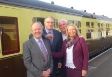 mfg's Peter Copsey and Maynard Burton are welcomed by John Leftwich and Shelagh Paterson of the SVR Charitable Trust