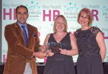 Muhammad Younis and Laura Kavanagh-Jones, of Shropshire Fire and Rescue Service, based at their Shrewsbury fire HQ, receive the award from Kay Heald at the Dyslexia Awards 2017 ceremony. Photo: ©Infocus Photography – Michael Wilkinson