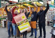 Shrewsbury Market Hall traders celebrate: (from left) Robin Nugent, Anna Kayiatou, Alison Staples, Libby Gliksman, Pabel Kumar Saha and Jay Singh