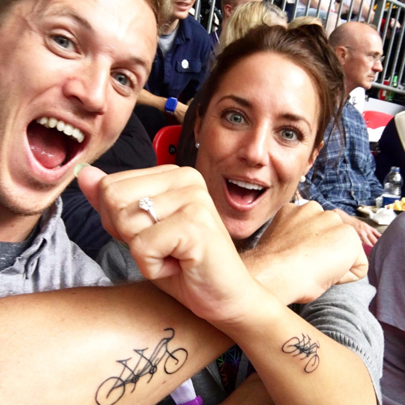 Jake and Emmy Coates with their matching tattoos showing their tandem