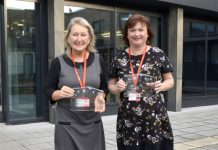 Lesley Urquhart and Lesley Tranter with their awards