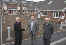Pictured at the new housing scheme, from left Robert Davies of Bridgnorth Housing Trust, Matt Spinks and Richard Coutts of architects Johnson Design Partnership