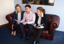 Patrick with two of his rental department Samantha Moore (left) and Louise Wearmouth (right)