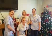 Some of the team on Sheldon Ward. From left, Julie Rogers, Staff Nurse; Jo-Anne Richards, Healthcare Assistant; Lucy Richmond, Staff Nurse; and front, Angela Burgess, Healthcare Assistant