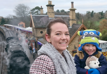 Samantha Kingsworth with Jack Bayliss, aged 3 – enjoying the festive atmosphere at Arley