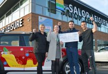 Presenting the Salop Santa Dash cheque to Lucy Ruff, Severn Hospice's fundraising manager (second from left), are Tory Bissell from Rybrook MINI Shrewsbury, Ed Glover, Salop Leisure's marketing manager and Tom Meehan from Love Fitness