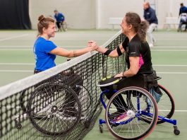 Lauren Jones, left, who made it a hat-trick of national women's singles titles, is congratulated by local player Deena Webster after completing one of her victories at The Shrewsbury Club last weekend. Photo: Richard Dawson Photography