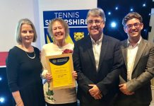 Shifnal Tennis Club, represented by Merill Holt and Gary Marsh, was named club of the year at the Tennis Shropshire awards, with, left, Liz Boyle, the president of Tennis Shropshire, and, right, Simon Haddleton, from The Shrewsbury Club, presenting the award