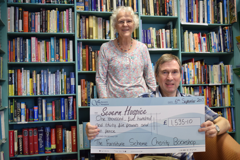 Volunteers Wendy Simpson (who also worked in the bookshop when it was run by Severn Hospice) and Terry Morton