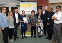 From left, Sam Hand, Sharon's son; Sharon Warren; Peter Warren; Rebecca Warren, The Lady Trevor; Victoria Sugden, Charity Director of the League of Friends; Mark Brandreth, Chief Executive; Mr Aheed Osman, Spinal Injuries Consultant; and Mr Joy Roy Chowdhury, Lead Consultant for MCSI