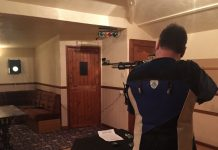 Martin Pearce for Halfway House shooting against the Telepost