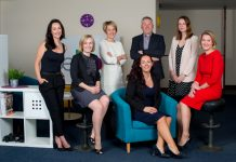 Account Executives, Sophie Savage and Melanie Boulter, Consultant Jo Cunningham, Managing Directors Amy Bould (centre) and Mark Waugh, Account Executive Vicky Barnes and Consultant Cath Shuttlewood