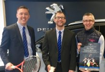 Looking forward to a week of great tennis from February 11 are, from left, Sam Owen, the general sales manager at Budgen Motors, managing director James Martin and Alvin Ward, the general manager of The Shrewsbury Club