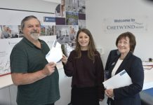 From left, councillor Maurice Jones receives the cheque from Sonya Bagley and Sue Donaghy of Galliers Homes at the Chetwynd Mere development