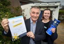 David Coull Chief Executive at Coverage Care Services with Naomi Atkin from the Lingen Davies Cancer Fund