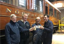 Derek Stagg, Hugh McQuade, John Beck and James Broughton celebrate the success of the £10,000 appeal during their tea break at the SVR's Kidderminster workshops