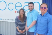 From left Victoria Handbury-Madin and Curtis Langley of The Movement Centre with Jeremy Rose, MD at Ocean Telecom