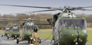 Lynx Helicopters queue for their re-fuel. Photo: Ian Forshaw / RAF Shawbury