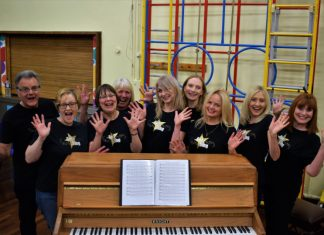 Olivia Thomas (center)– new Choir Leader for Got 2 Sing Telford & Shrewsbury