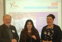 David Graham, YE Shropshire Area Manager with Shanna Kang, YE Business Advisor (centre), and Lisa Kearne, Business Studies Teacher at Newport Girls High School