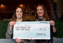 Source director Sally Tringham (right) with a cheque presented to Severn Hospice