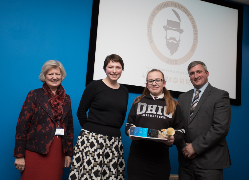 Provost of University Centre Shrewsbury, Professor Anna Sutton, Children's Author, Isabel Thomas, 12-17 Category Winner, Katie McPartland and Chairman of Morris & Company, Robin Morris