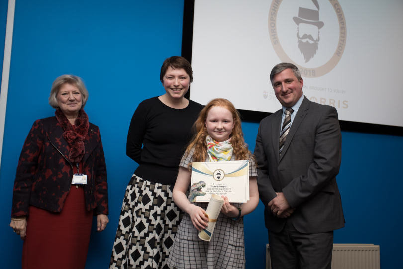 Provost of University Centre Shrewsbury, Professor Anna Sutton, Children's Author, Isabel Thomas, 7-11 Category Winner, Rose Farquharson and Chairman of Morris & Company, Robin Morris