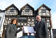 Bishop Percy's House proprietor Maria Allen with Richard Coutts of architects Johnson Design Partnership