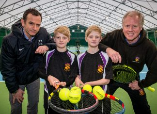 Blane Dodds - CEO Tennis Scotland with year 5 pupils Adam and Thomas Jacques and Steve Welti -Director of Ellesmere Tennis Academy