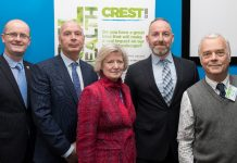 From left to right, Paul Kirkbright, UCS Deputy Provost, Adrian Platt, Chair of the Industry Advisory Panel, Prof Anna Sutton, UCS Provost, Dr David Gregory-Kumar, BBC West Midlands Science, Environment & Rural Affairs Correspondent and Prof Roy Alexander, University of Chester at the CREST launch