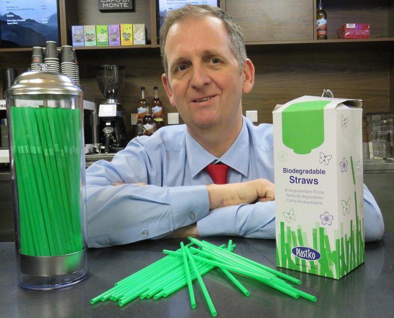 Catering Operations Manager Ian Stuart with the new biodegradable drinking straws