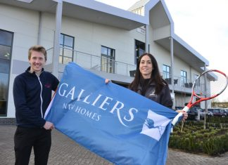 Johnathan Gidney of The Shrewsbury Club with Rachel Thomas of Galliers Homes marking the sponsorship deal