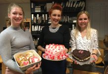 Enjoying the Valentine's Day bakes are Dani Shimmons, Monika Fogarasi and Sarah Crane