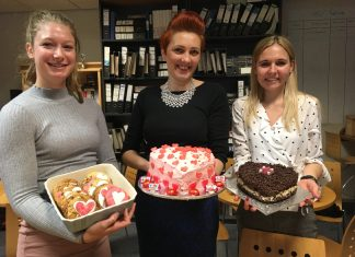 Enjoying the Valentine's Day bakes are Dani Shimmons, Monika Fogarasi and Sarah Crane