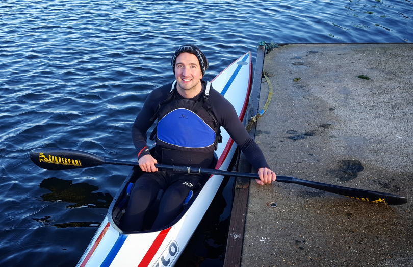 Darren Edwards broke his back in the accident in August 2016, he is now a member of the GB kayaking team